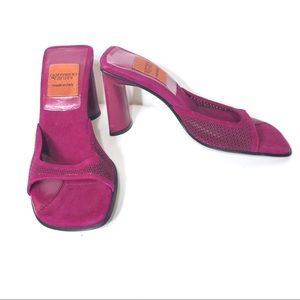 Goffredo Fantini Purple Square Toe Suede Heels